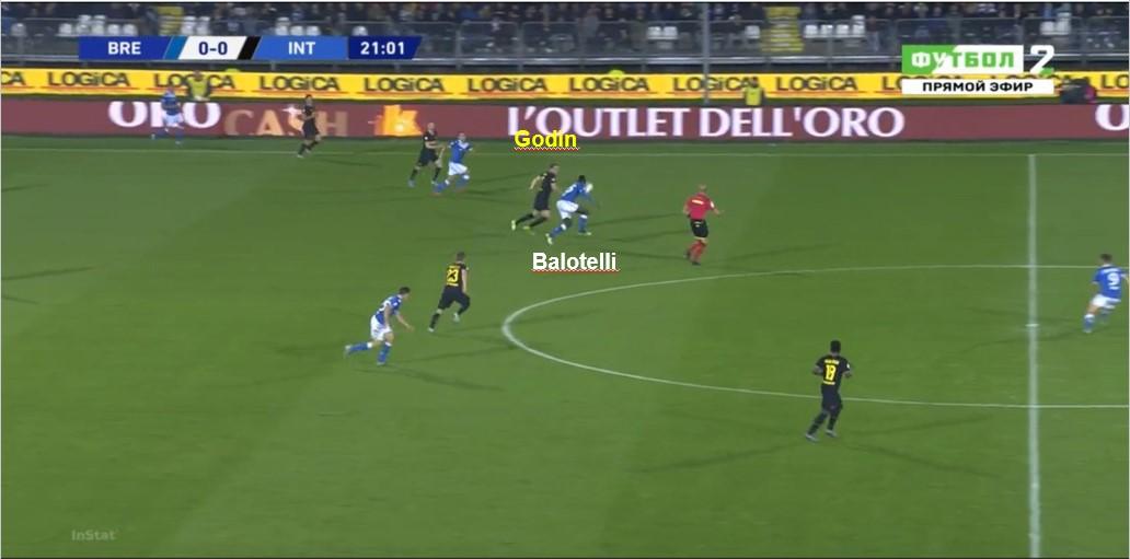 Godin sbaglia l'intervento dell'anticipo facendosi scavalcare dalla palla e permettendo a Balotelli di andare fino al tiro